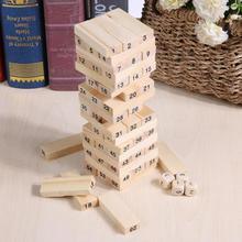 Деревянные цифры подписанные блоки штабелирование Здание Модель башня из кубиков детские развивающие потянув укладки игра игрушка с игральным кубиком Размер S