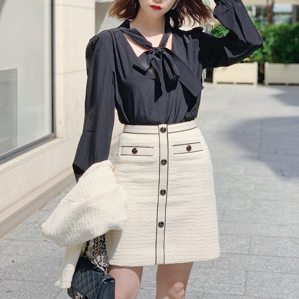 England Style 2019 Autumn Simple Women's Mini Skirt Tweed A-line Ladies Short Skirts With Buttons