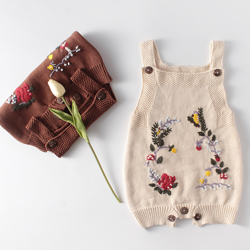 2020 New Knitted Baby Clothes Newborn Baby Rompers Handmade Embroidery Baby Girl Romper Cotton Infant Boys Jumpsuit Overalls