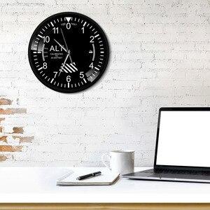 Image 4 - Hava uçak irtifa ölçüm Rrint Duvar Saati siyah Metal çerçeve altimetre yuvarlak Duvar sanat dekoru Timepiece saat Duvar Saati