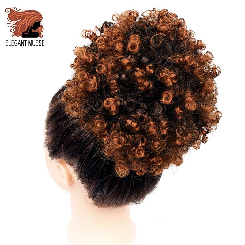 ELEGANT MUESE Synthetic Puff Afro Short Kinky Curly Chignon Hair Bun Drawstring Ponytail Wrap Hairpiece Fake Hair Extensions