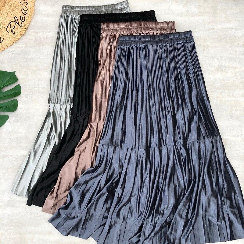 Spring Women Midi Skirts Velvet Pleated Hight Elastic Waist Patchwork Metallic Color Bling Bling Casual Daily Fashion Skirt