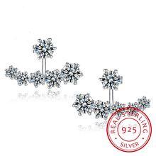Женские серьги гвоздики из серебра 925 пробы с двусторонним
