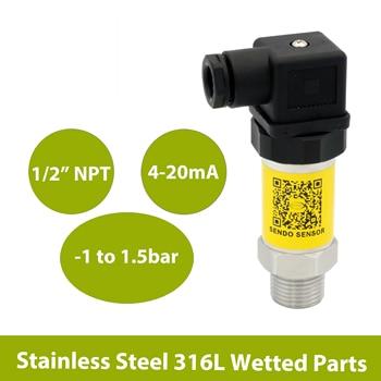 4 20mA analog signal, pressure sensor transmitter, -100kpa to 150kpa, thread 1 2 NPT, 9 to 30Vdc, 24Vdc, AISI 316L wetted parts