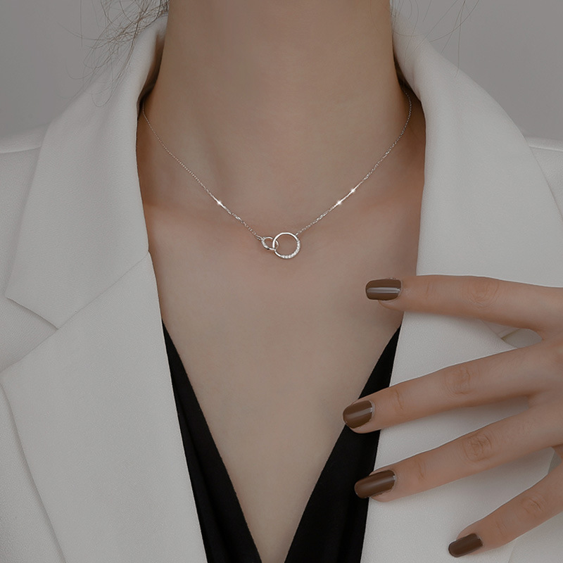 Minimalism 925 Sterling Silver Round Double Circle Zirconia Necklaces & Pendants For Women Party Gift Choker lovers Jewelry