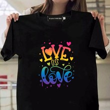 Funny Cute Love Graphic Short Sleeve T Shirt Casul Gay Pride Gifts Lesbian Gay T Shirt Tops For Women Men(China)