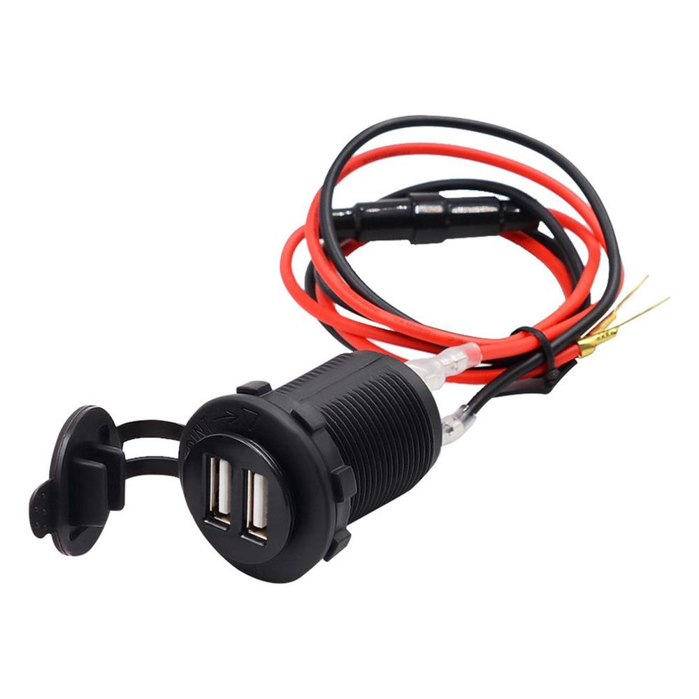 Car And Motorcycle Modified Waterproof 12V Power Cigarette Lighter Seat Gps Socket Dual Usb Car Charger Mobile Phone Charger