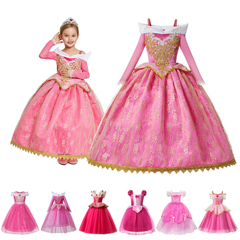 hot formal princess kids girls summer mesh wedding dresses party gown for age 3 4 5 6 7 8 9 10 years children prom gown clothing Children Clothing Girls Princess Party Costumes Dresses Kids Wedding Flower Girl Prom Gown Sleeping Beauty Role Playing Frocks