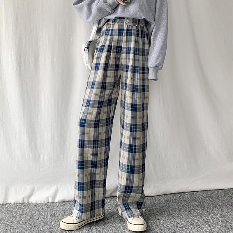 Брюки женские в клетку, повседневные шикарные свободные широкие штаны в стиле оверсайз, с завышенной талией, в Корейском стиле ретро, в стил...