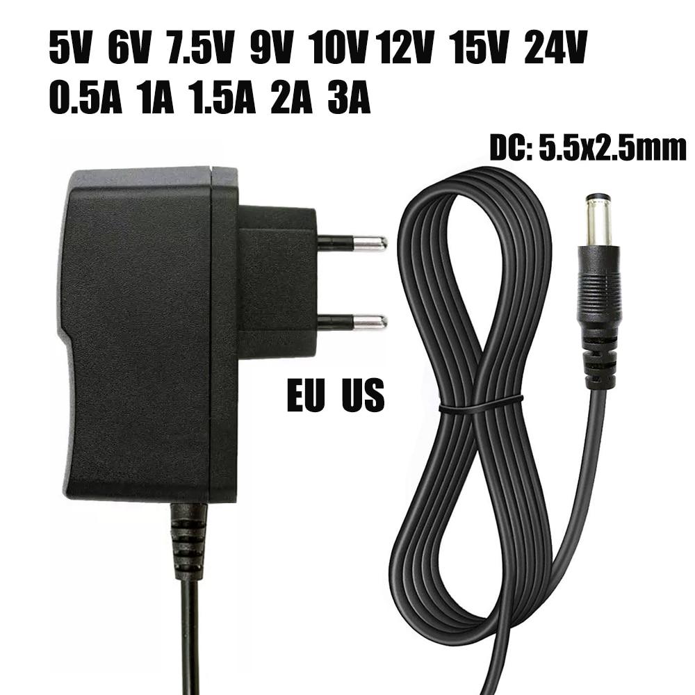 Универсальный адаптер питания, зарядное устройство адаптер для светодиодных лент, 110-240 В перем. тока, 5/6/8/9/10/12/15 В пост. тока, 0,5/1/2/3 А