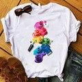 T womens gráfico 3d dedo pintura de unhas cor moda bonito impresso topo tshirt feminino camiseta roupas das senhoras camiseta