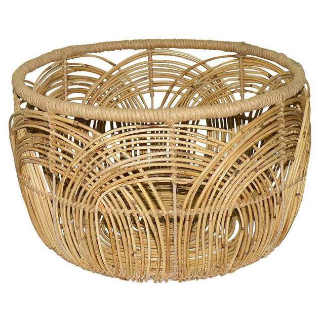 Round Rattan Coffee Basket Side Table