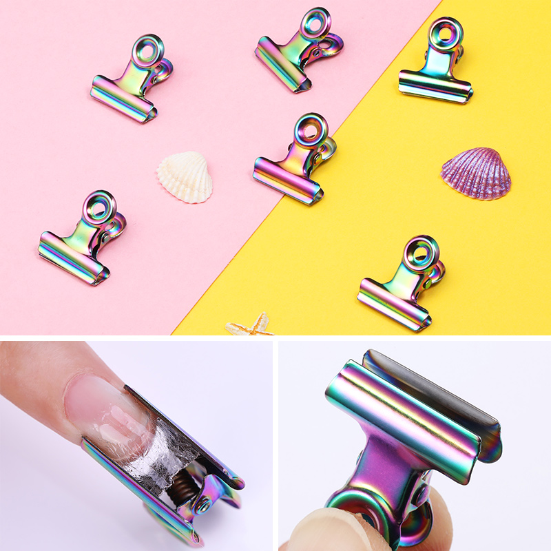 1 Pc C Curve Nail Pinching for Nails Tips Extend Holographic Stainless Steel Nail Finger Clips Nail Art Tools Design
