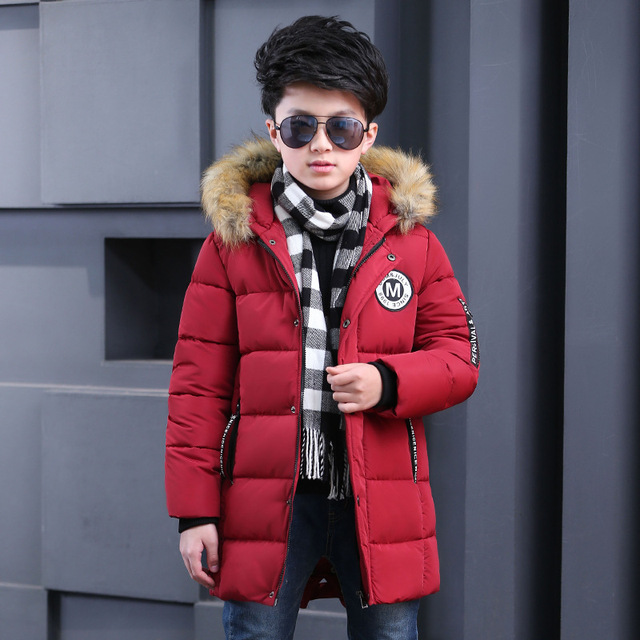 Boys Kids Hooded Long Coat Down Cotton Padded Cotton Parka 3-15Years Both Sides