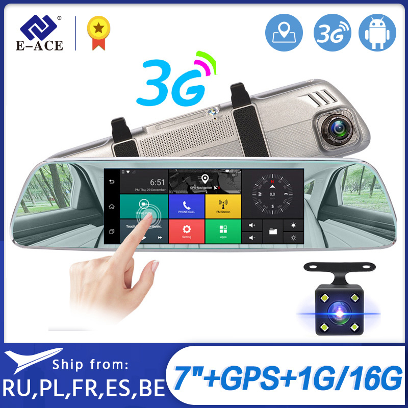 E-ACE Car Dvrs 7Touch Rearview Mirror 3G Android 5.0 Cameras GPS Bluetooth Handfree WIFI FHD 1080P16G Dual Lens Video Recorder image
