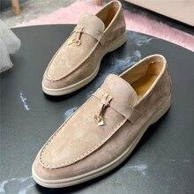 Hohe-Qualität Frauen Schuhe Nude Grau Wildleder Damen Loafers Slip Auf Runde Toe Walk Schuhe Frau Metall Schnalle Casual flache Maultiere