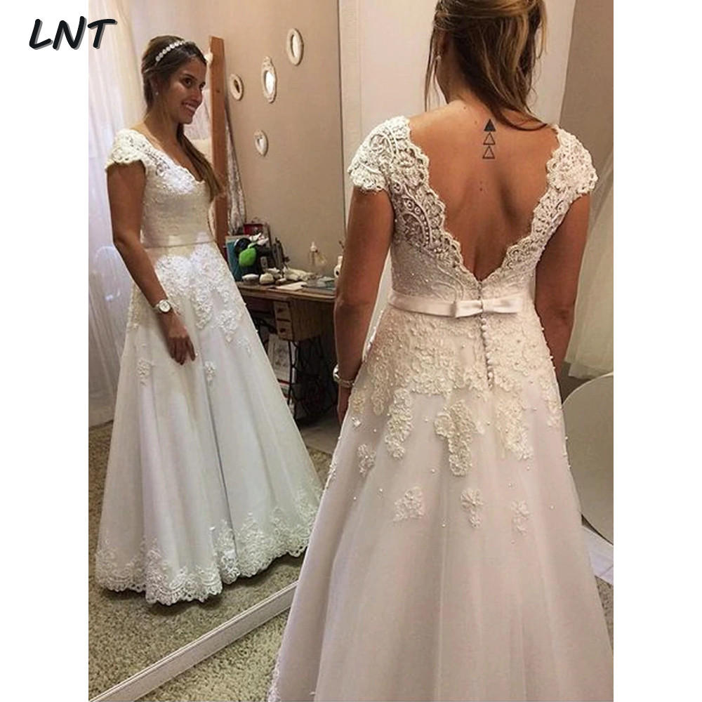 V Neck Cap Sleeve Wedding Dresses With Open Back Applique Floor Length Bridal Dress With Sash Button Vestido De Noiva