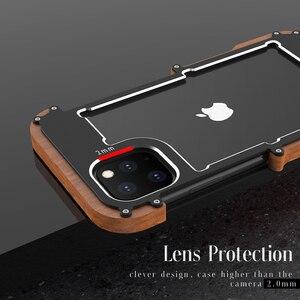 Image 3 - R Just 알루미늄 금속 케이스 For iPhone 12 Pro 최대 충격 방지 케이스 For iPhone 11 Pro Max Xs XR 8 7 6 목재 + 금속 안티 노크 커버