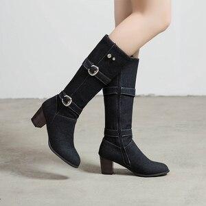 Image 2 - ORCHA リサ女性の靴西洋分厚いブルージーンズ布ミッドカーフブーツスクエアハイヒールバックルデニム靴女性ビッグサイズ