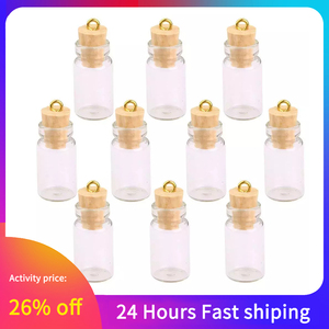 10Pcs Mini Glass Bottles Small Vials Cork Miniature Clear Glass Jars Multi Usage Cork Stopper Wish Glass (Long Pattern And Cork