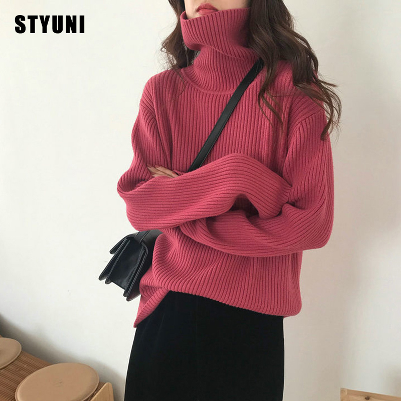 Женский Повседневный свитер в полоску, Однотонный свитер в Корейском стиле с высоким воротником, Осень-зима 2020