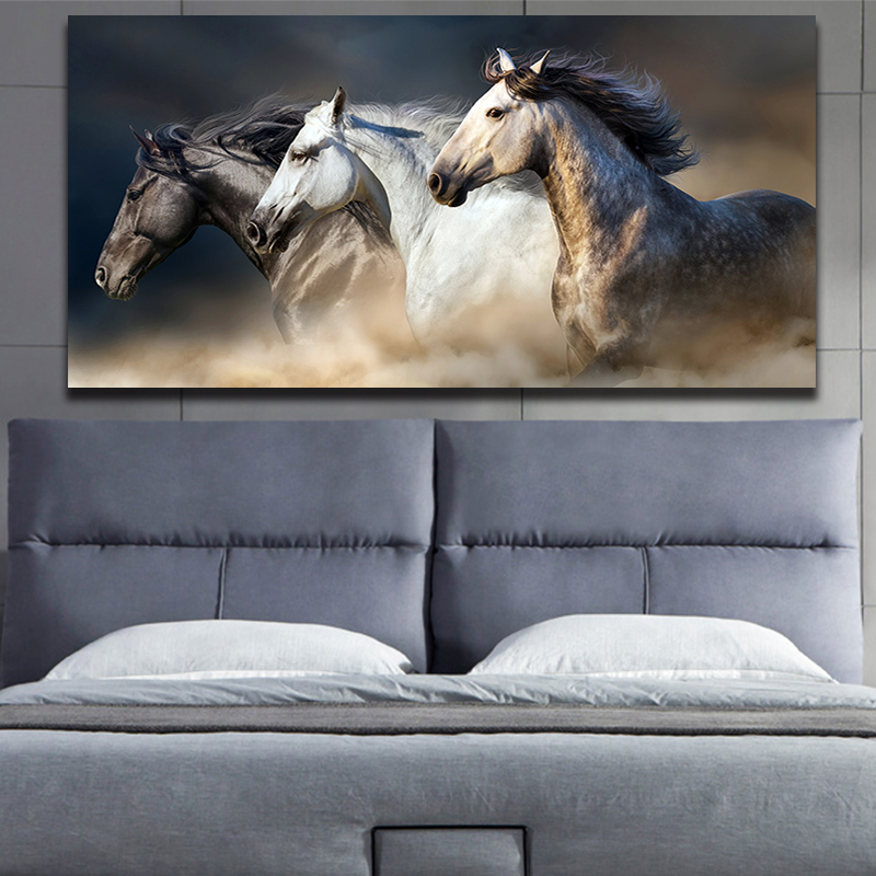 OUCAG Three Black And White Running Horse Canvas Painting Modern Unframed Wall Art Posters Pictures Decoration For Home Office