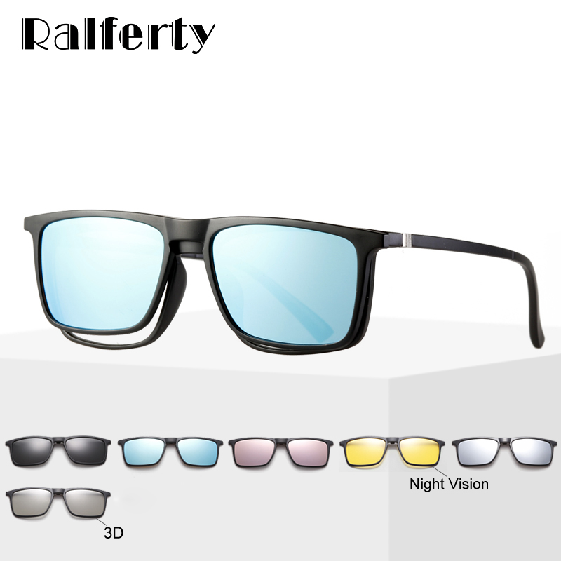 Ralferty 6 In 1 Magnet Sunglasses Men Polarized Clip On Glasses Women Square Prescription Optic Frames 3D Yellow Oculos A2249