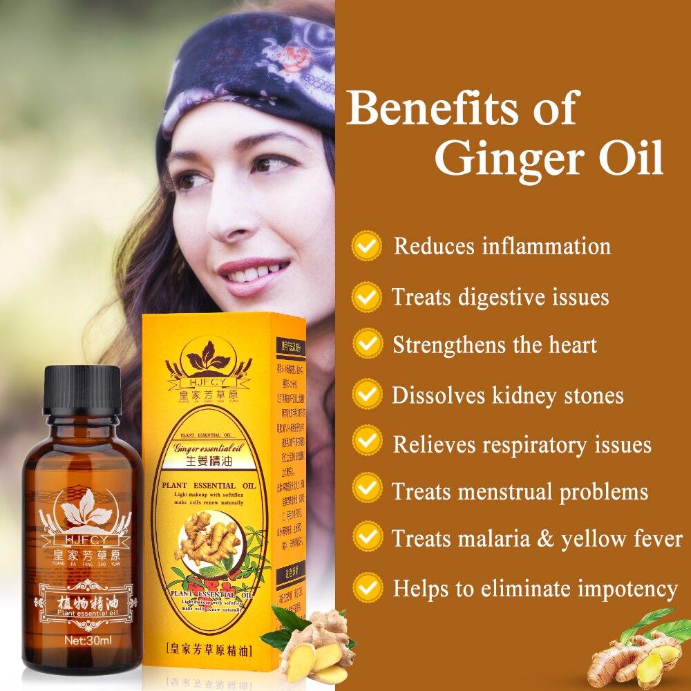 30ml Pianta Naturale Terapia Drenaggio Linfatico Olio di Zenzero Naturale Anti Invecchiamento Olio Essenziale di Massaggio Del Corpo 2