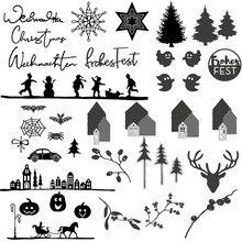Рождественские елки, лося, снеговик, тыква, призрак, цветы, металлические Вырубные штампы для скрапбукинга и открыток «сделай сам», ремесла, новые штампы