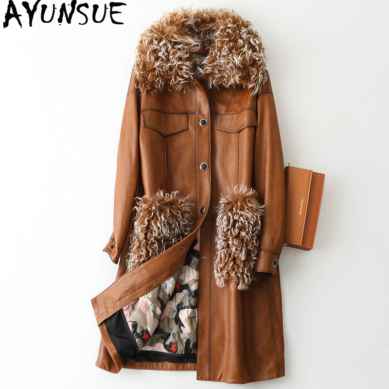 AYUNSUE Real Leather Jacket Winter Coat Women Lamb Fur Collar Down Jacket Women Long Genuine Sheepskin Coat Chaqueta Mujer MY