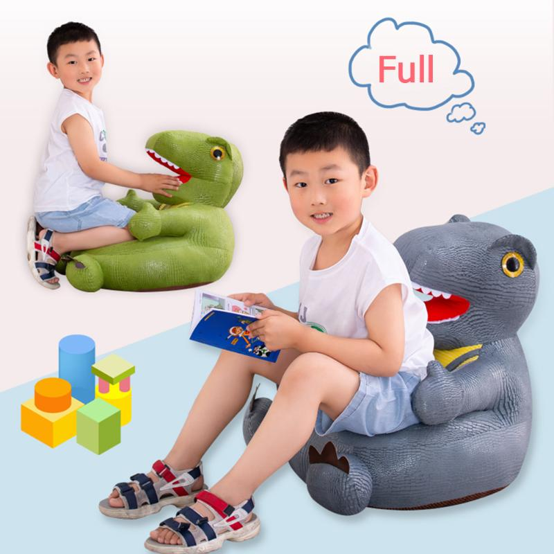 Cartoon Dinosaur Baby Sofa Support Seat Cover Washable Toddler Learning To Sit Plush Chair Case Without Filler
