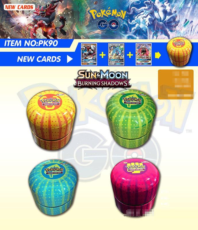 Новый Покемон карта Английский Покемон Ptcg круглая жестяная банка 76 карт в коробке битва коллекция карт коробка детская игрушка подарок