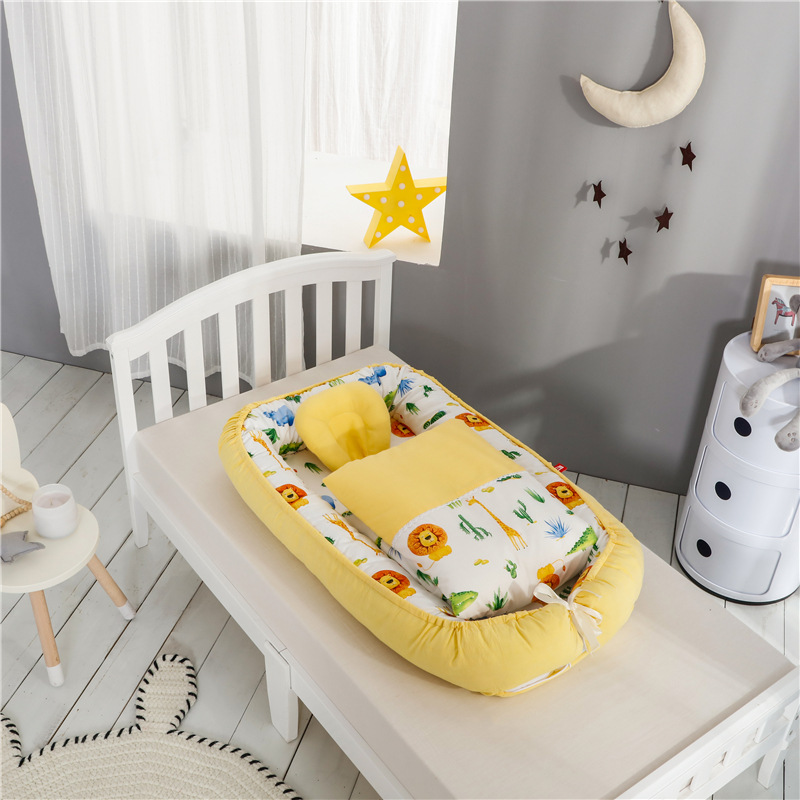 Cute Printing Double Sided Available Multi function Portable Baby crib Newborn Bionic uterus bed Travel Baby Nest Cot With Quilt|Travel Beds| |  - title=