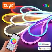 Tuya DC12V WiFi RGB LED Strip Light With Voice Control 1or 2 Pcs 1/2/3/4/5M Neon Lamp tape Set Work with Google Home/ Smart Life