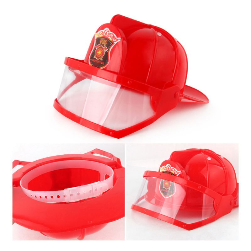 Children Fireman Helmet Firefighter Hat Portable Fire Extinguisher TOOL Accessories Kids Halloween Party Role Play Toy