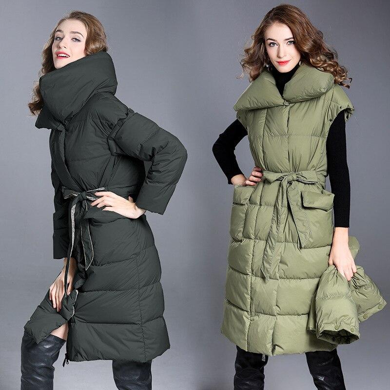 Women's Winter Down Jacket Warm Long Coat Puffer Jacket 90s Down Vest Jackets For Women 2020 Large Size 7002 KJ2811