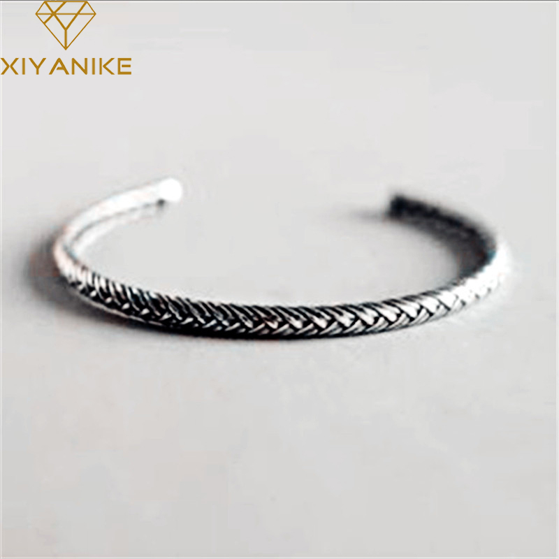 XIYANIKE 925 Sterling Silver Vintage Adjustable New Fashion Prevent Allergy Bracelets & Bangle Simple Jewelry For Women Gift