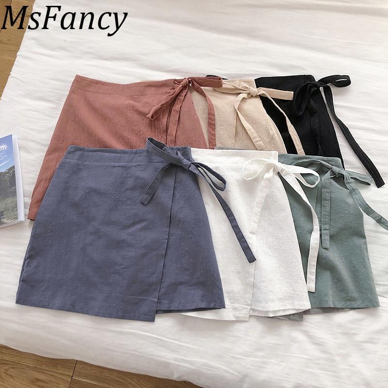 2020 letnie kobiety bawełniana lniana spódnica spódnica wiązana dla kobiet wysokiej talii krótka spódniczka Spodnice Damskie 1