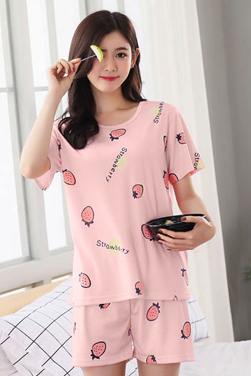 Shakespeare Fort Beauty Korean Style New Products Short Sleeve Pajamas Women's Summer Thin Section-Outer Wear Set Sweet Cute GIR