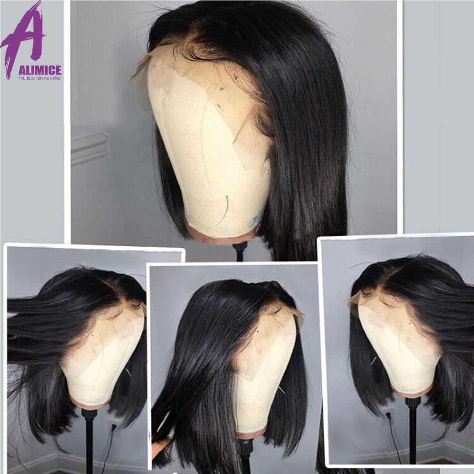 Боба парик 13x4 Короткие Синтетические волосы на кружеве парики из натуральных волос на кружевной основе 150% Плотность Малайзии Прямые тупой вырезать парики для Для женщин Remy alimice волосы парик