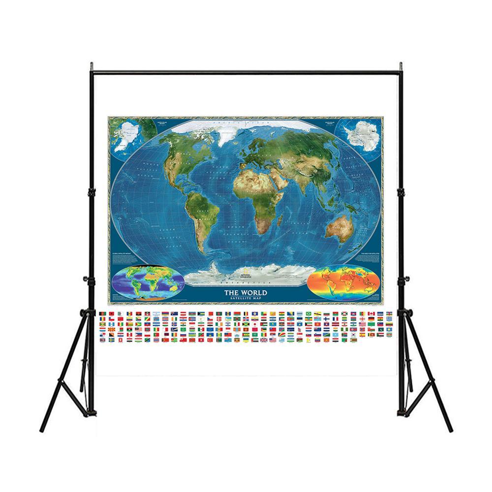 150X150cm Non-woven Spray World Map The World Satellite Map With National Flag And Surface Temperature Map