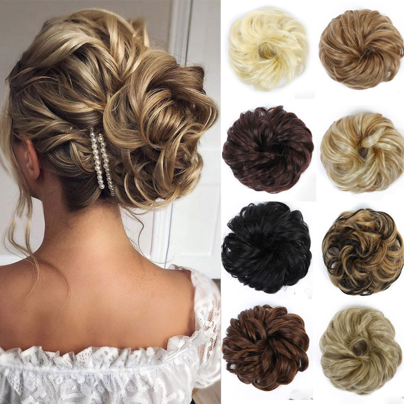 MANWEI Messy Hair Bun Scrunchie For Women Hairpiece Extensions Synthetic Wig Ring Wrap Synthetic Hair Bun Elastic Temperatur Fib