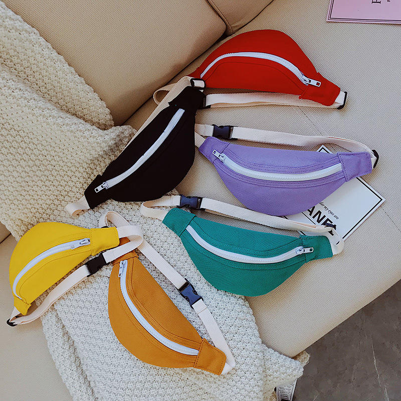 Children's Mini Waist Bag Canvas Kids Red Fanny Pack Boys Girls Phone Wallet Chest Bag Baby Belt Bag Waist Packs