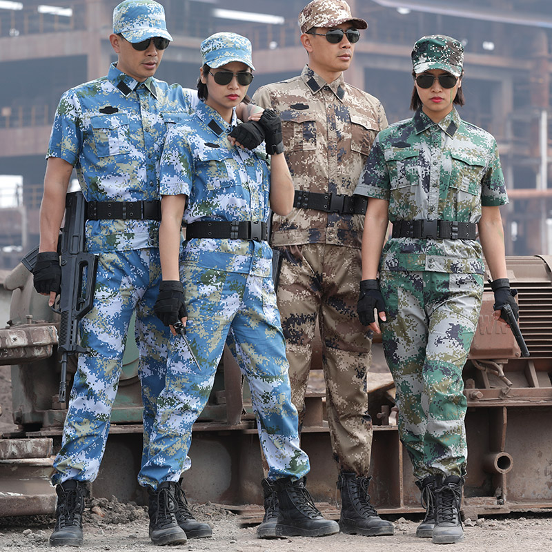 3 Colors Summer Military Uniform Blue Sea Camouflage Short Combat Shirt Army Clothing Tactical Fishing Hunting Clothes Men Women