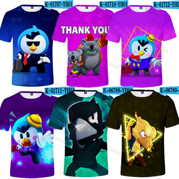 2020 New Cartoon Boy Girl Leon T Shirt Hot Game Browl Star Max Tshirt Kids 3D Print Elastic Tops Tees Child Clothes Gift