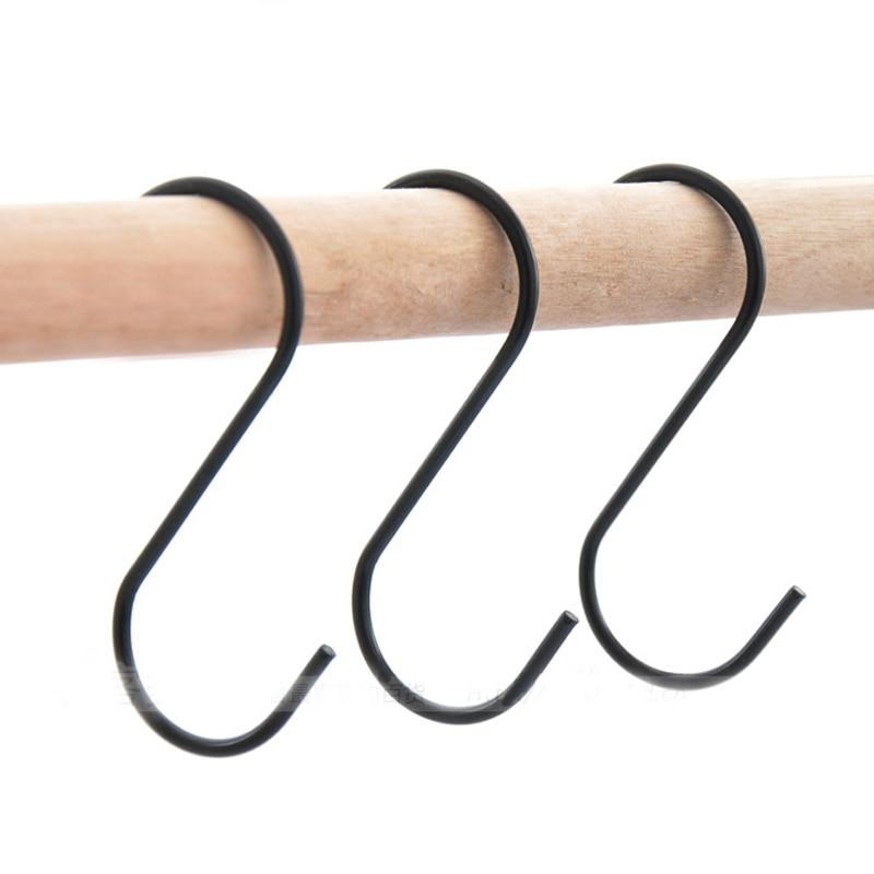 Kitchen Storage Holders Stainless Steel S-Shaped Hooks  Clasp Sundries Organizer Rustproof S Type Hooks Bags Hangers Black 3Pcs