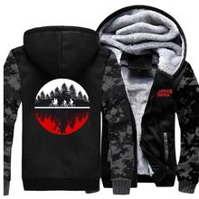 Stylish Creative Print STRANGER THINGS Male Hoodie Winter Thick Camouflage Sleeve Jacket Coats Men Streetwear Hip Hop Tracksuits new arrival stranger things print sweatshirts hoodies 2019 men cool tracksuits winter hoodie hip hop jacket male hoody harajuku