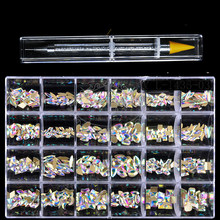 20PC/Shape Flat- Back Nail Art Crystal AB Rhinestone In Grids Box With 1 Pick Up Pen In Clear Big Box High Quality
