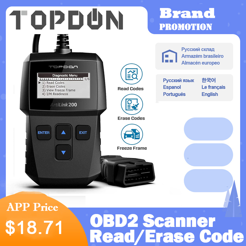 TOPDON Artilink 200 Al200 Auto Code Reader OBDII OBD2 Scanner Car OBD Diagnostic Tool Car Scaner Automotive Diagnostic Scanner