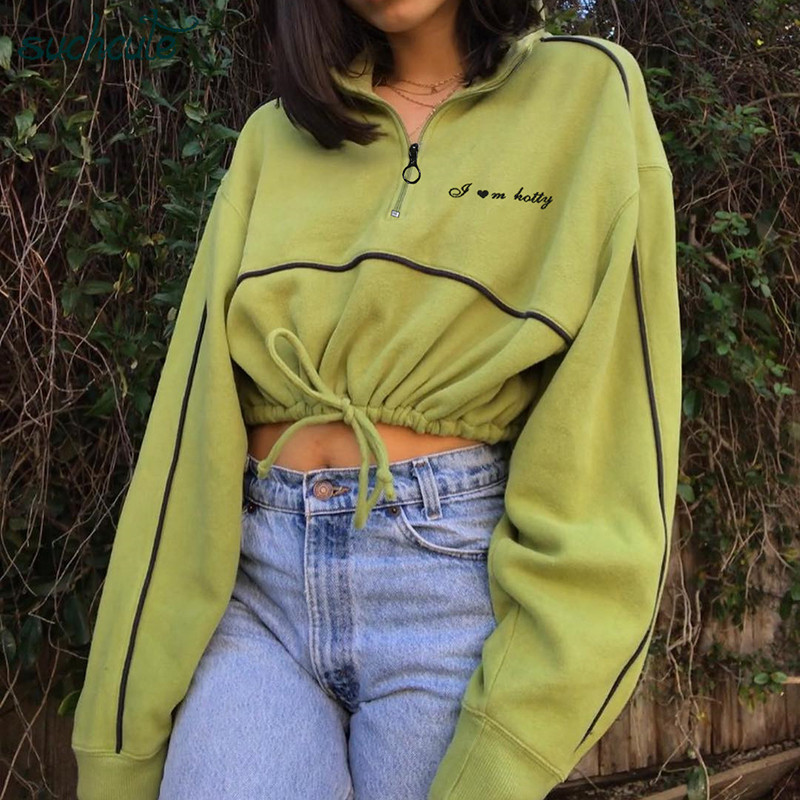 SUCHCUTE Female Hoodies With Zipper Gothic Kpop Bangtan Clothes Autumn 2019 Hip Hop Harajuku Hoodie Tops Sweatshirts For Women